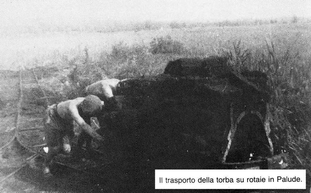 trasporto della torba su rotaie in palude